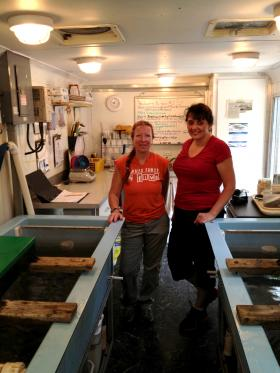 Volunteers Sue Borchardt and Corinne Baum teamed up Monday mornings to tend to the sturgeon.