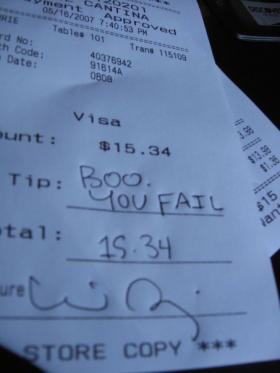 """When deciding how much to tip, some customers go with """"not at all."""""""