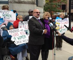 Elvin Daniel calls for more gun laws, at a news event on Monday