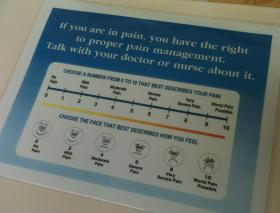 Some medical offices have signs helping patients identify their pain level. The medical community began a push in the 1990s to better identify and treat pain. Some say that's led to a proliferation of prescription painkillers