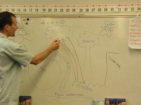 Graves draws the water cycle, which the students have been studying recently