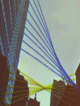 Boyle's blue, yellow and red (not pictured) bungee cords will create networks of designs between buildings.