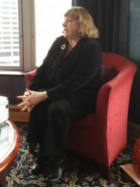 Office Managing Partner for McGladrey LLP Lori Stortz being interviewed at the University Club of Milwaukee.