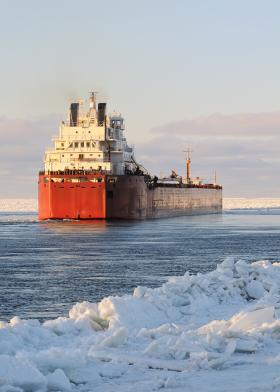 Ice can be a real cold-weather threat to ships on the ocean - and Lake Michigan.