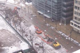 Construction extends onto Wisconsin Avenue in downtown Milwaukee.