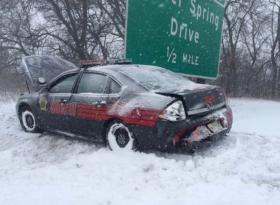 A deputy was injured when a driver rear-ended a squad car Monday