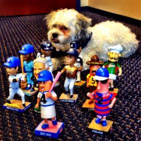 """Hank among his """"bobble"""" buddies."""