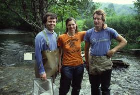 Molloy (left) during streambed sampling with colleagues Barbara Griffin and Bob Struble - in 1985