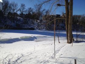 Ice buckling on the Milwaukee River.