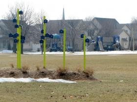 Annushka Peck's sculpture stands north of the new playground at Johnsons Park.