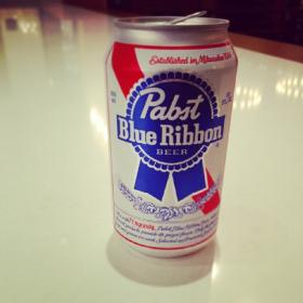"""Established in Milwaukee 1844"" on a can of PBR."