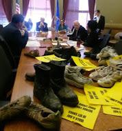Some people who favor local minimum wages, left worn shoes in the meeting room.