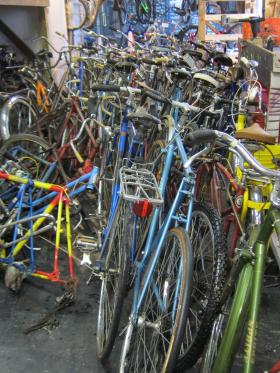 Fellow scouts, friends and family helped Zebedee deliver bikes to Vulture Space.