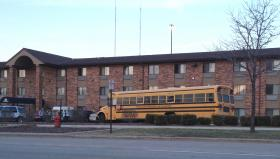 A bus picks up WIA students from their dorm, a hotel in Glendale, and takes them to school.