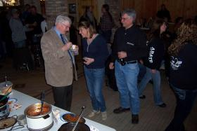 State Sen. Glenn Grothman mingles with constituents at a chili cook-off in West Bend.