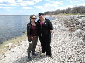 Rachael Fry, Breanne Pemberton and other Alverno classmates pitched in at South Shore Park beach clean up.