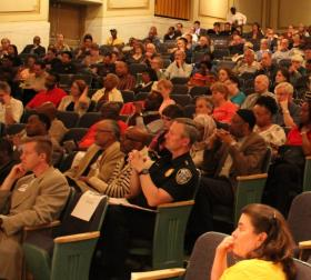 More than 400 people attended the town hall forum in Centennial Hall of the Milwaukee Public Library