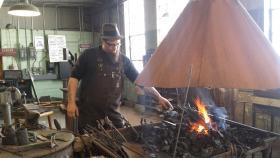 Kent Knapp at his forge