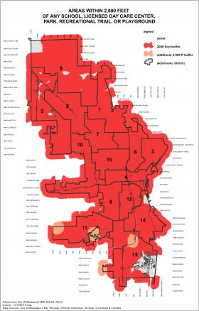Areas within 2,000 feet of places where children congregate are in red.
