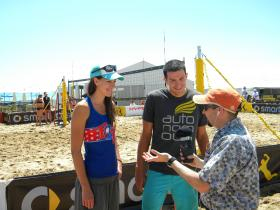 Mitch Teich (left) and volleyball players Bill and Julie Kolinske, siblings originally from Big Bend, Wisconsin.  Bill now plays in California, while Julie has one more year, playing indoors for the UW-Milwaukee Panthers.  She was an all-Horizon League star in 2013.  The AVP Milwaukee Open runs through Sunday afternoon at Bradford Beach.