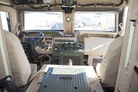 The interior of a Caiman military truck. The Neenah Police Department received a used Caiman from the military.
