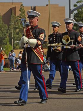 U.S. Marine Corps soldiers participate in a parade.