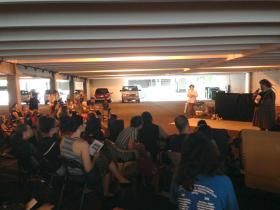 The Parking Garage theater and audience in Mankato, Minnesota.