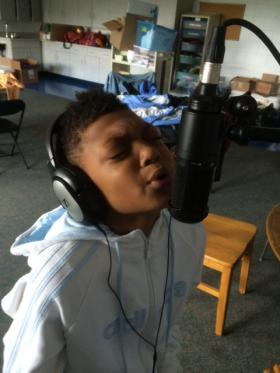 Camp attendee prepares song for Project Ujima talent show