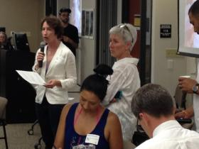 Alexa Bradley and Ann Brummitt lead a Water Commons Town Hall event at the Zilber School of Public Health early in June to pull more people into the conversation.