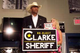 Milwaukee County Sheriff David Clarke spoke to supporters gathered Tuesday night in Milwaukee