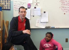 """Dan Graves in his second grade classroom last year. He described his job as a new MPS teacher as """"great"""" because he loved his students, but """"brutal"""" because of the high stress and long hours."""