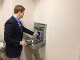 """Eleven new """"refill your own water bottle"""" stations are scattered around campus."""