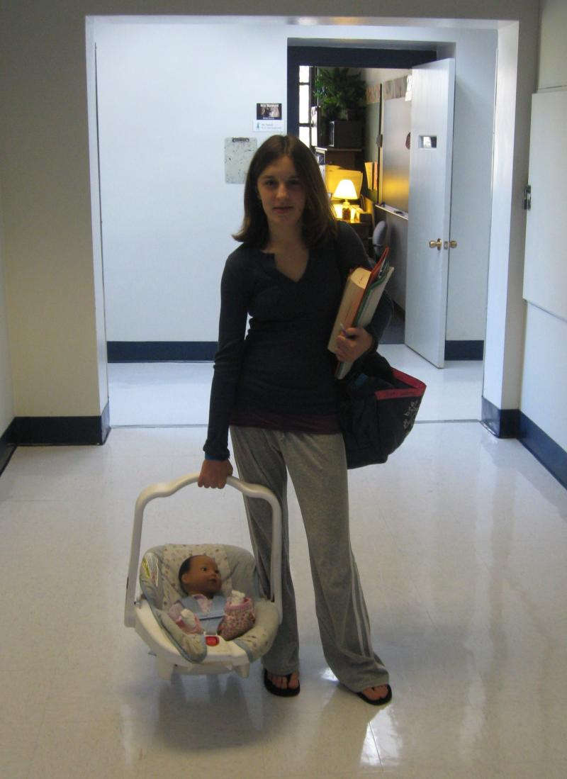 Hallie at school with RealCare® Baby