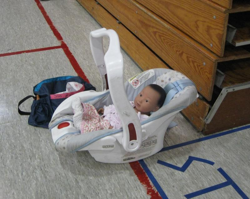 RealCare® Baby at Hallie's basketball practice