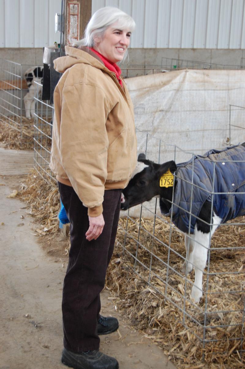 Ellen Geoller with a calf