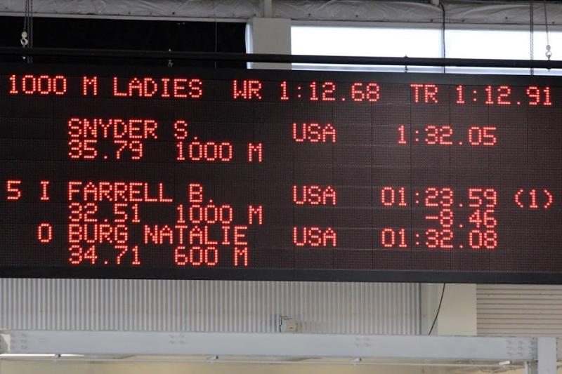 Bridie Farrell's Results in the 1000 Meter Race at the American Cup Final in Utah