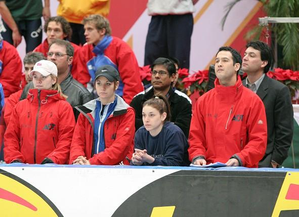 Bridie Farrell (front row left) and Andy Gabel (back row right) at the 2005 World Short-Track Championships in Beijing
