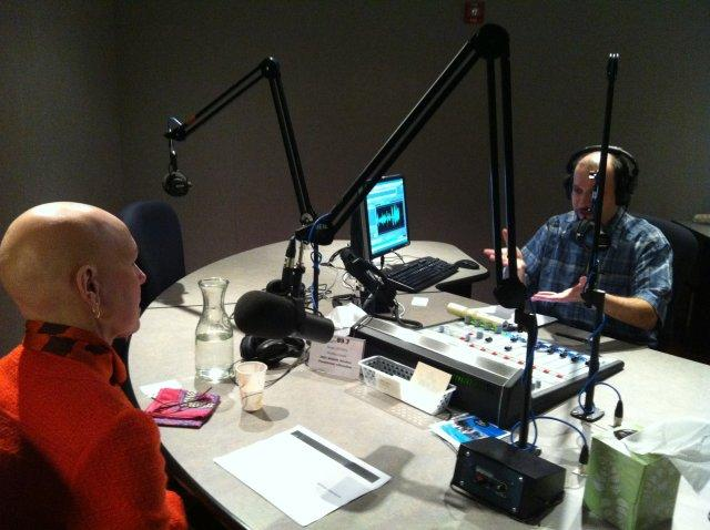 Manpower's Melanie Holmes, speaking with Lake Effect's Mitch Teich in Studio B.
