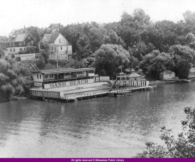 Click to Enlarge PhotoBechstein's Swimming School along Milwaukee River .