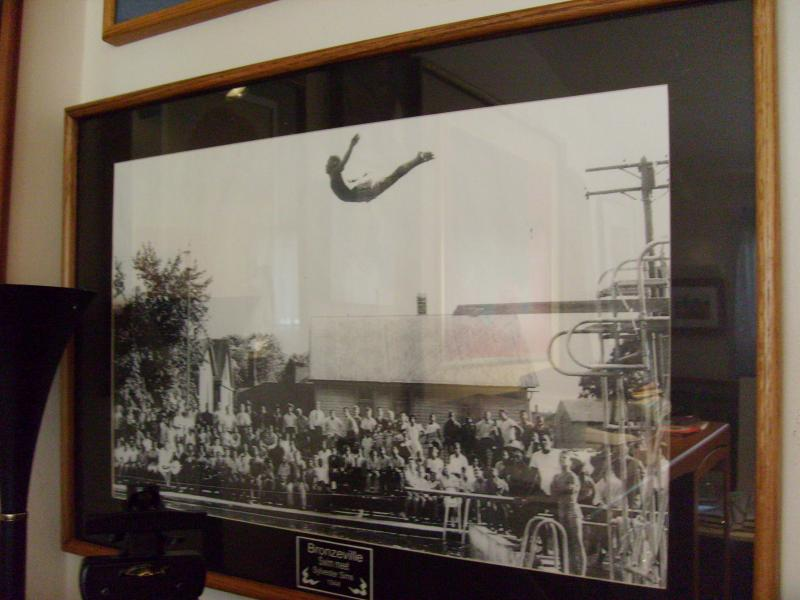 Sims' swan dive at a state diving meet in Bronzeville in 1944