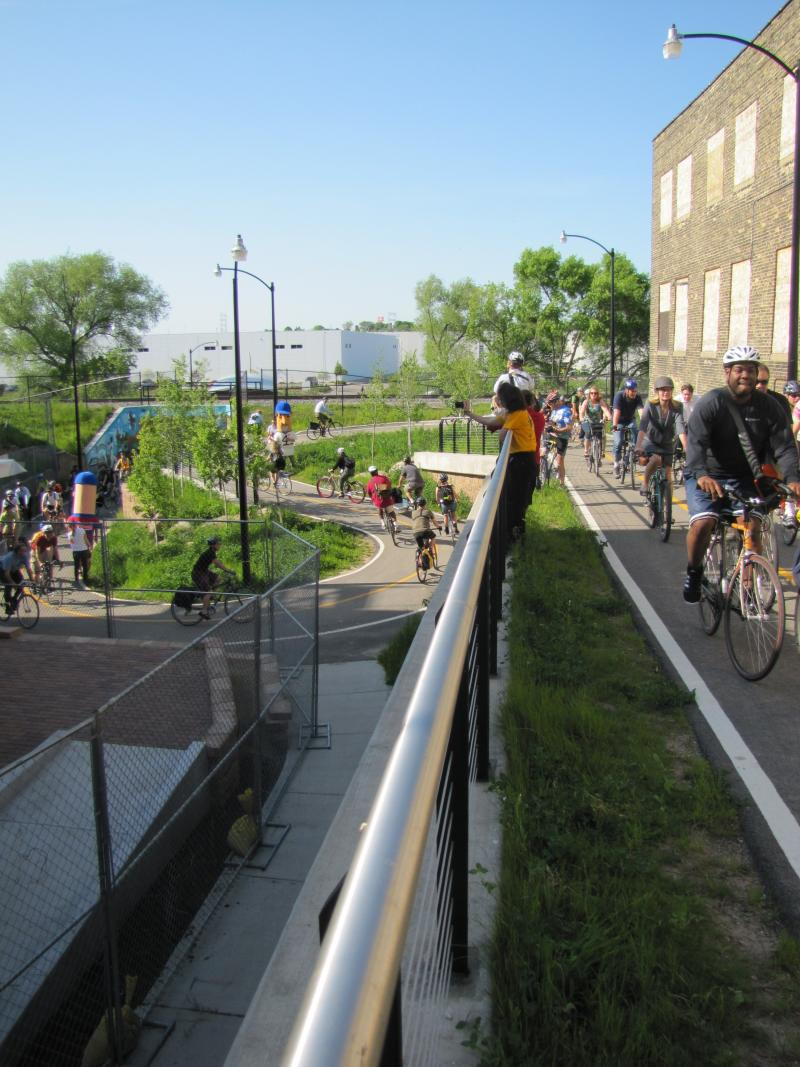 Celebration of biking to work and  the opening of the Bicycle Federation of Wisconsin's Milwaukee office on Pierce Street. Bikers wound their way up and off the Hank Aaron Trail that meanders through the Menomonee River Valley.