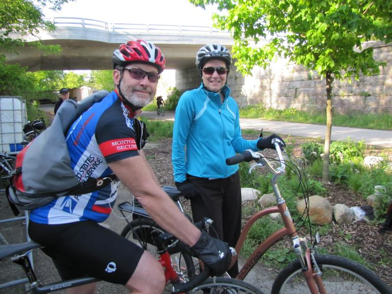 Nancy Morris'  first week as a bike commuter - with her husband Chip. He's been commuting on two wheels for 17 years.