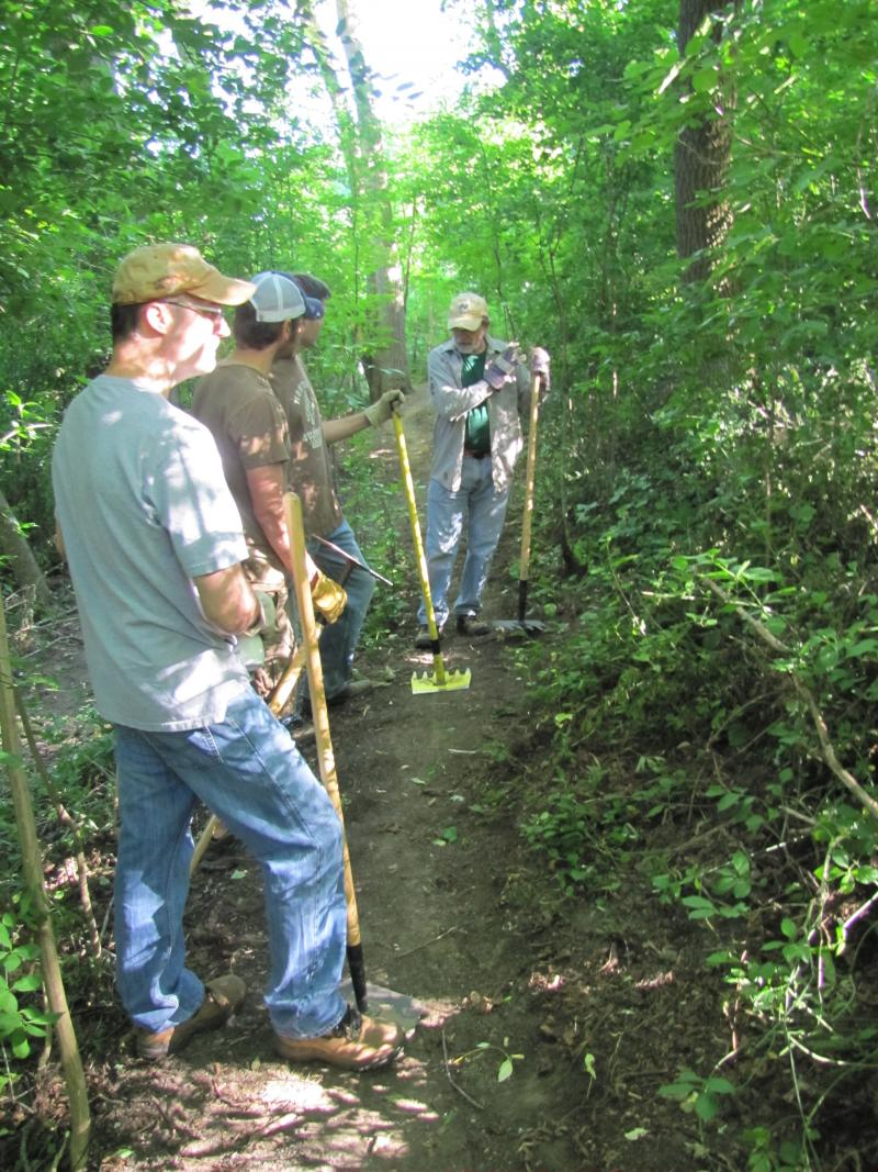 Volunteers create sustainable paths.