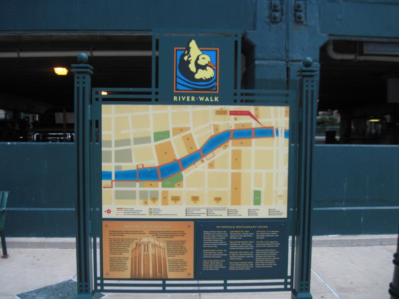 A map on the Riverwalk points out nearby attractions.