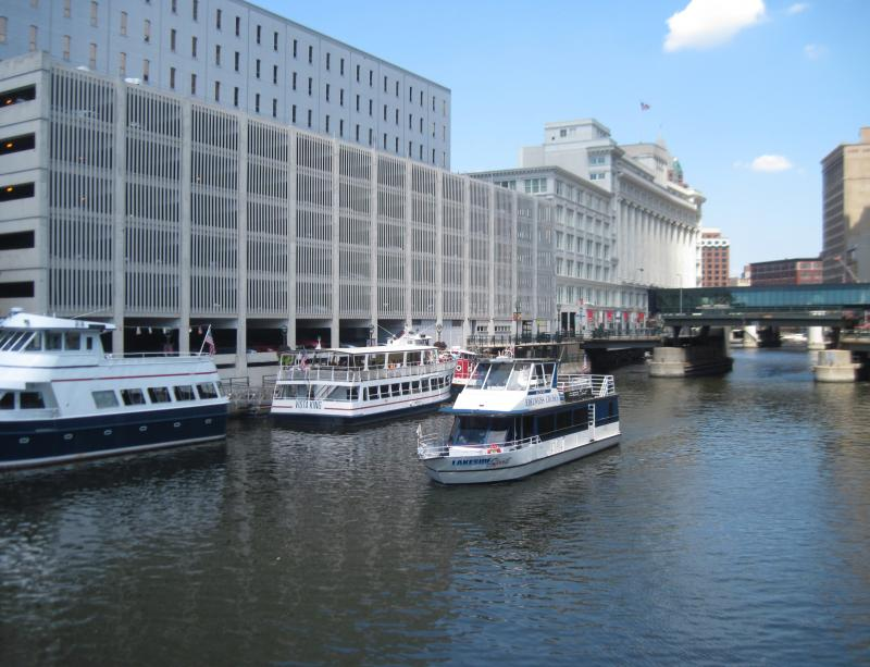One of the many sightseeing cruises that depart downtown Milwaukee each day.