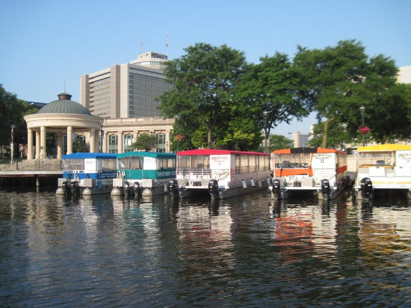 Pontoon boats for rent on the Milwaukee River.