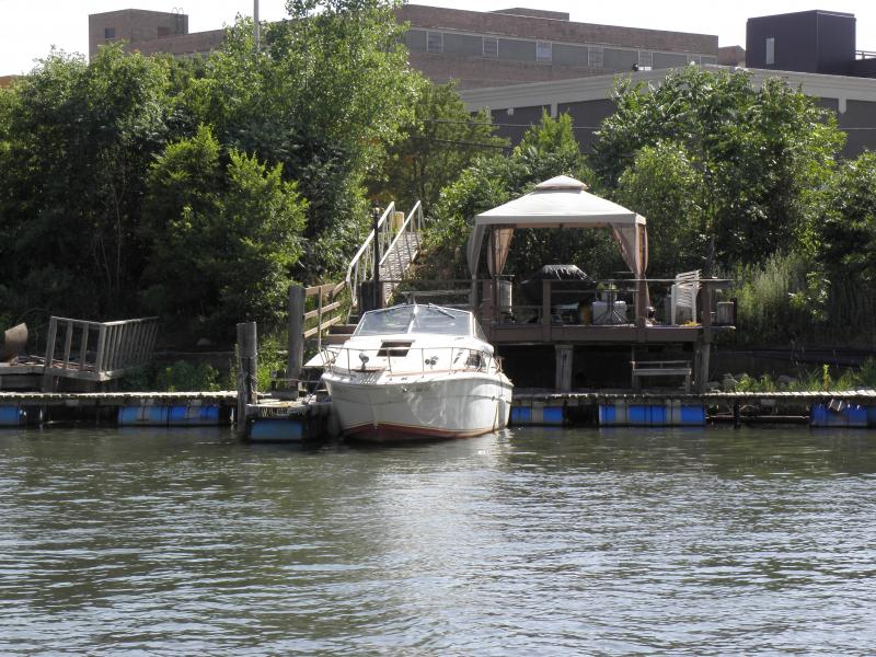 A boat slip owner makes the most of the space adjacent to the river.