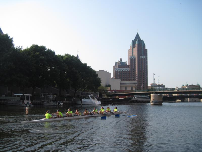 Members of the Milwaukee Rowing Club out for an early morning lesson downtown.