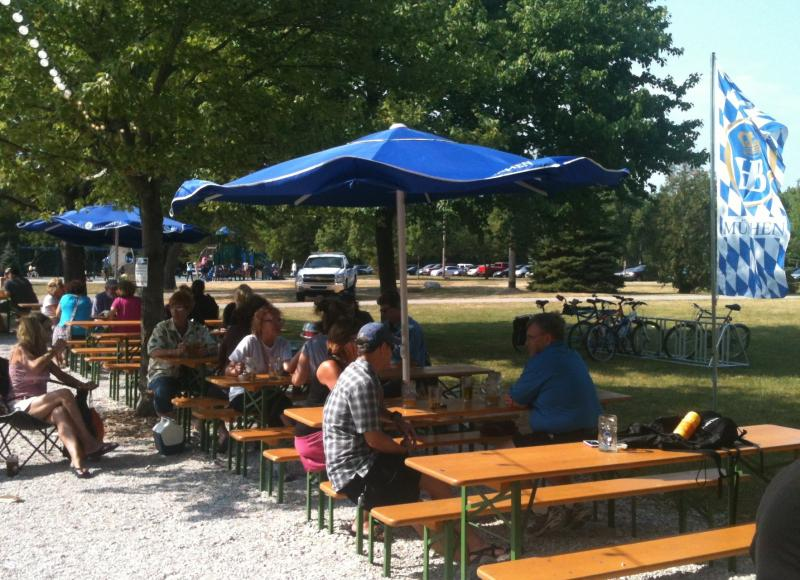 A Saturday afternoon at Estabrook Park's new beer garden.