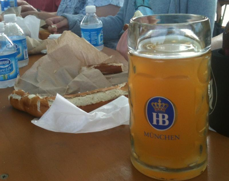 The Estabrook Park beer garden serves giant pretzels and even bigger glasses of beer.
